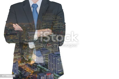 1079450712 istock photo Double exposure of businessman and city 477893986