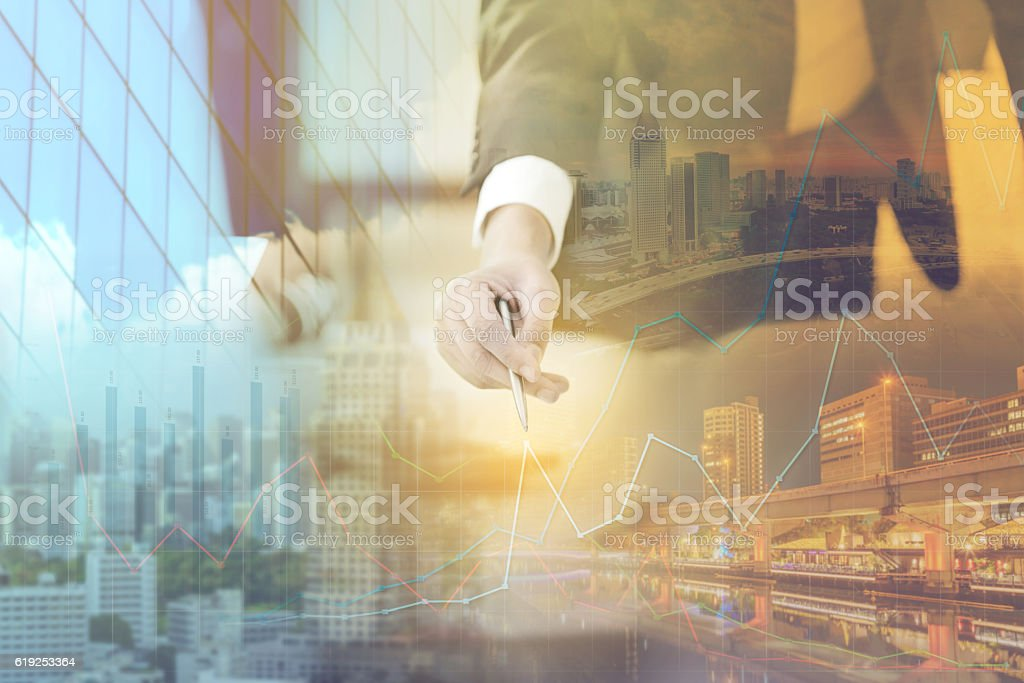Double exposure of businessman and cityscape - Business concept – Foto
