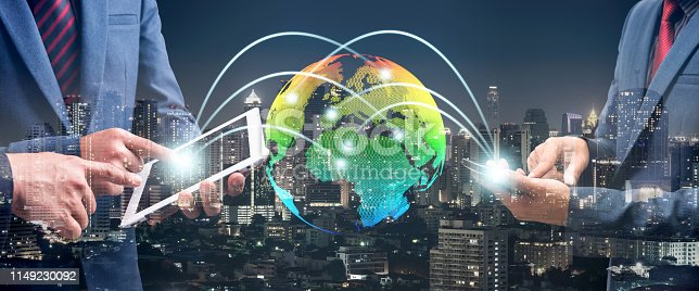 istock double exposure of businessman using cellphone or smart phone and globe simulation with blur city night, network technology connection concept 1149230092