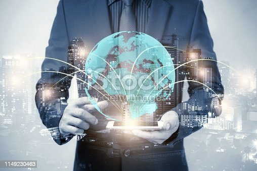 istock double exposure of businessman using cellphone or smart phone and globe simulation with blur city night, network technology connection concept 1149230463