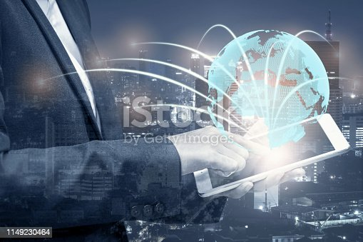 istock double exposure of businessman using cellphone or smart phone and globe simulation with blur city night, network technology connection concept 1149230464