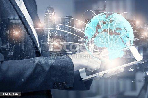 istock double exposure of businessman using cellphone or smart phone and globe simulation with blur city night, network technology connection concept 1149230470