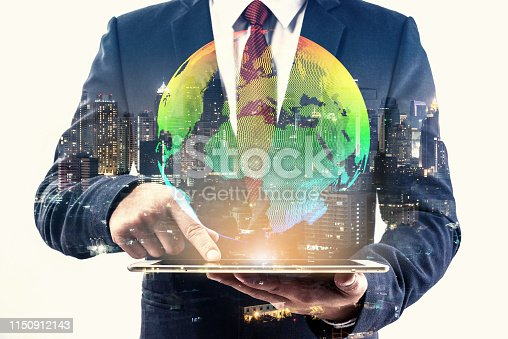 istock double exposure of businessman using cellphone or smart phone and globe simulation with blur city night, network technology connection concept 1150912143