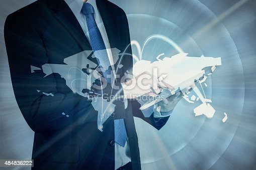 544976664 istock photo Double exposure of businessman using digital tablet show Global 484836222
