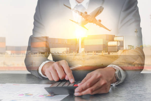double exposure of businessman working with calculator, container cargo ship, cargo plane and airplane take off at sunset as business, calculation, industrial, transportation and import export concept - laptop digital composite stock photos and pictures
