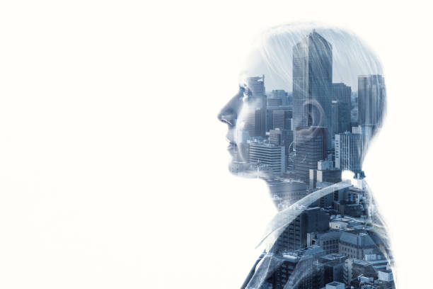 Double exposure of businesswoman and cityscape. stock photo