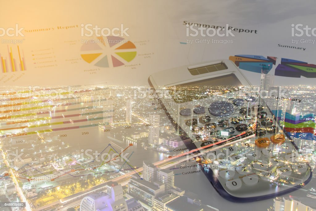 Double exposure of Calculations, savings, finances and economy concept stock photo