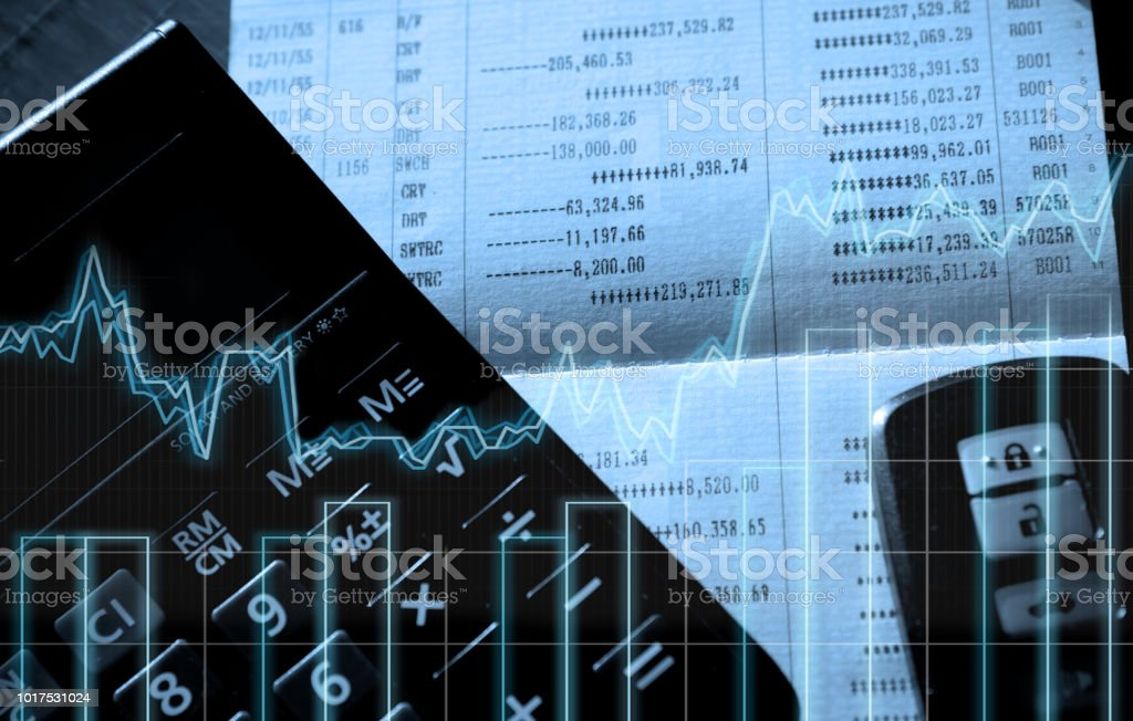 Double exposure of calculator,account book,bar and car key remote on finance and banking concept stock photo