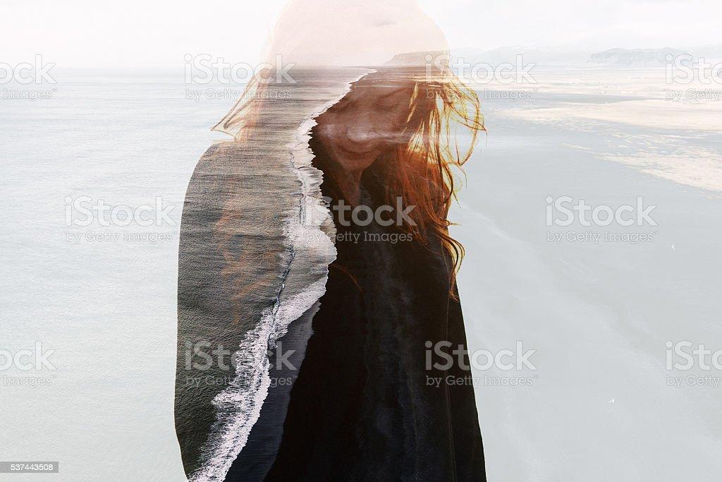 Double exposure of  caucasian woman stock photo