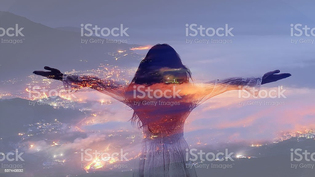 Double exposure of  caucasian woman stock photo