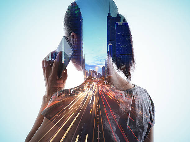 double exposure of cityscape and smart phone - double exposure 個照片及圖片檔