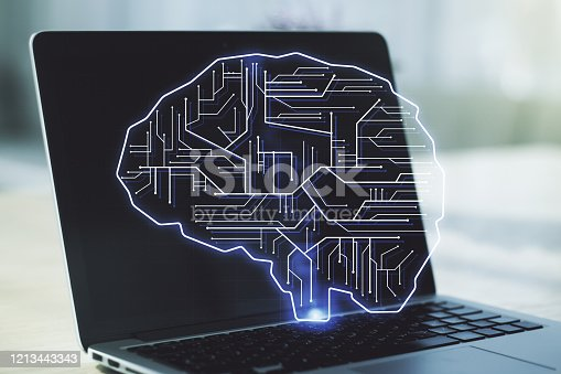 istock Double exposure of creative human brain microcircuit with computer on background. Future technology and AI concept 1213443343