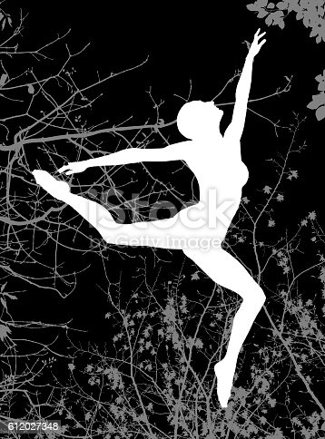 477312602istockphoto Double exposure of dancer silhouette and autumn tree branches 612027348