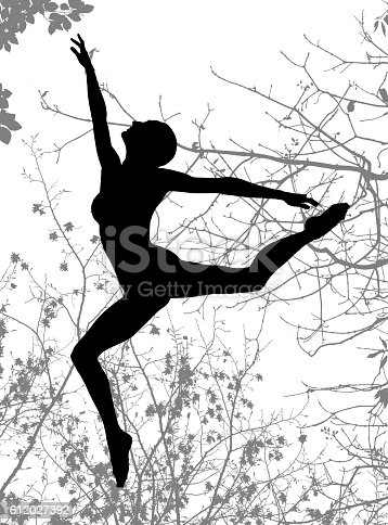 477312602istockphoto Double exposure of dancer silhouette and autumn tree branches monochrome 612027392