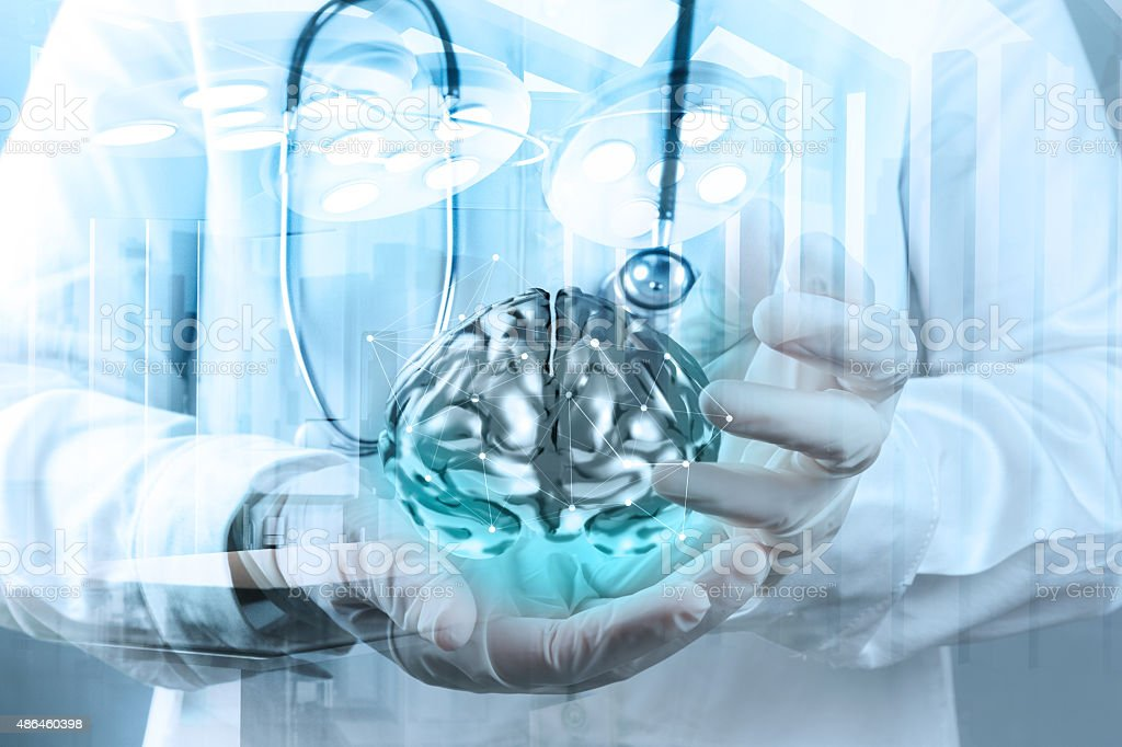Double exposure of doctor neurologist hand stock photo