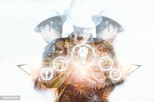 istock Double exposure of Engineer or Technician man with industry tool icons for management business by using tablet with safty helmet & uniform for oil and gas industrial business concept. 839355484