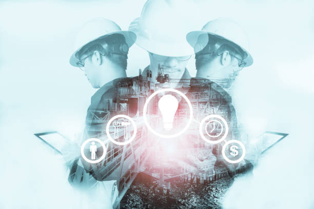 Double exposure of Engineer or Technician man with industry tool icons for management business by using tablet with safty helmet & uniform for oil and gas industrial business concept. stock photo