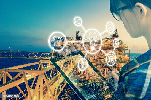 istock Double exposure of Engineer or Technician women with industry tool icons for management business by using tablet with safty helmet & uniform for oil and gas industrial business concept. 839354596