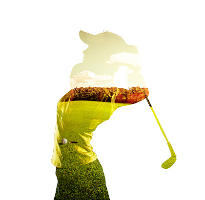 Double exposure of golf player and field