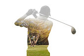 Double exposure of golf player holding club with golf course.