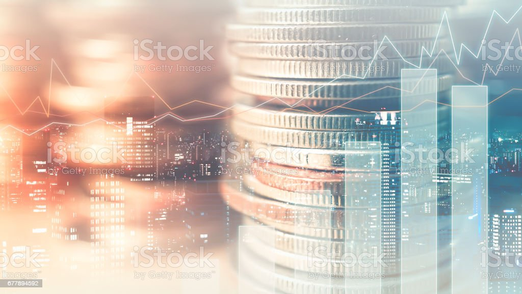 Double exposure of graph and rows of coins royalty-free stock photo