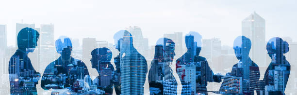 Double exposure of group of businessperson and cityscape. Double exposure of group of businessperson and cityscape. corporate culture stock pictures, royalty-free photos & images