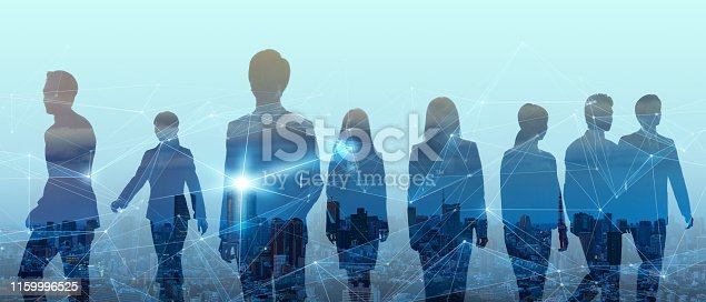 istock Double exposure of group of businessperson and smart city. 1159996525