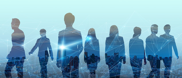 1054574034 istock photo Double exposure of group of businessperson and smart city. 1159996525