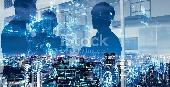 1054574034istockphoto Double exposure of group of businessperson and smart city. 1161459555