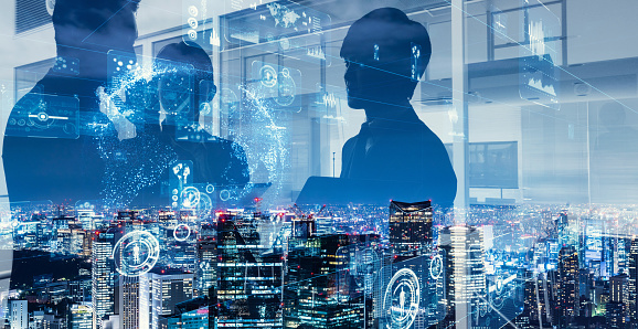 1054574034 istock photo Double exposure of group of businessperson and smart city. 1161459555