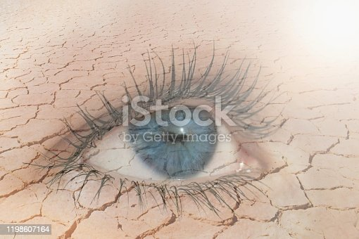 Double exposure of human eye in dry land on the background. Global warming and nature conservation concept.