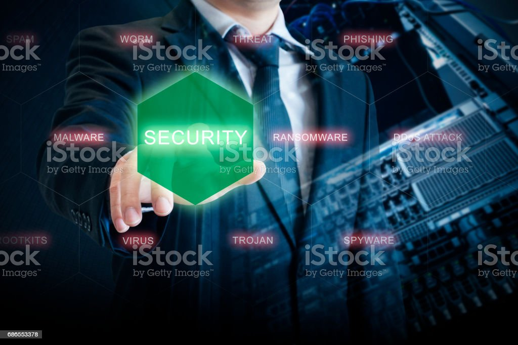 Double exposure of IT Manager touch security on digital screen to prevent system and devices from virus attack with server network storage background in security technology concept royalty-free stock photo