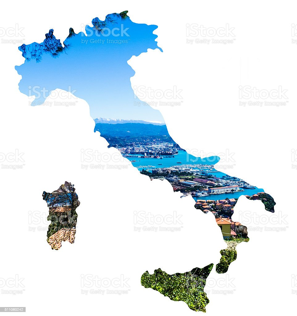 Double Exposure Of Italy Map And Liguria Coast Town Stock Photo