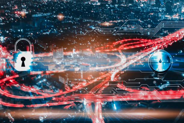 키 및 디지털 회로 라인 기술의 이중 노출은 도시 배경을 흐리게 합니다. - double exposure 뉴스 사진 이미지