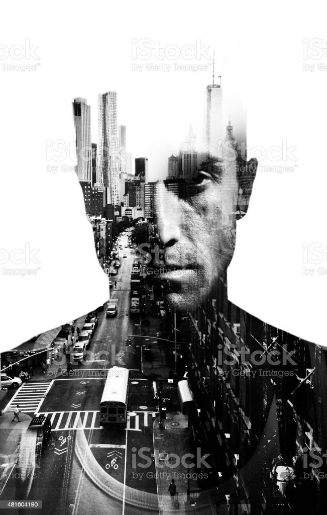 Double exposure of man and New York stock photo