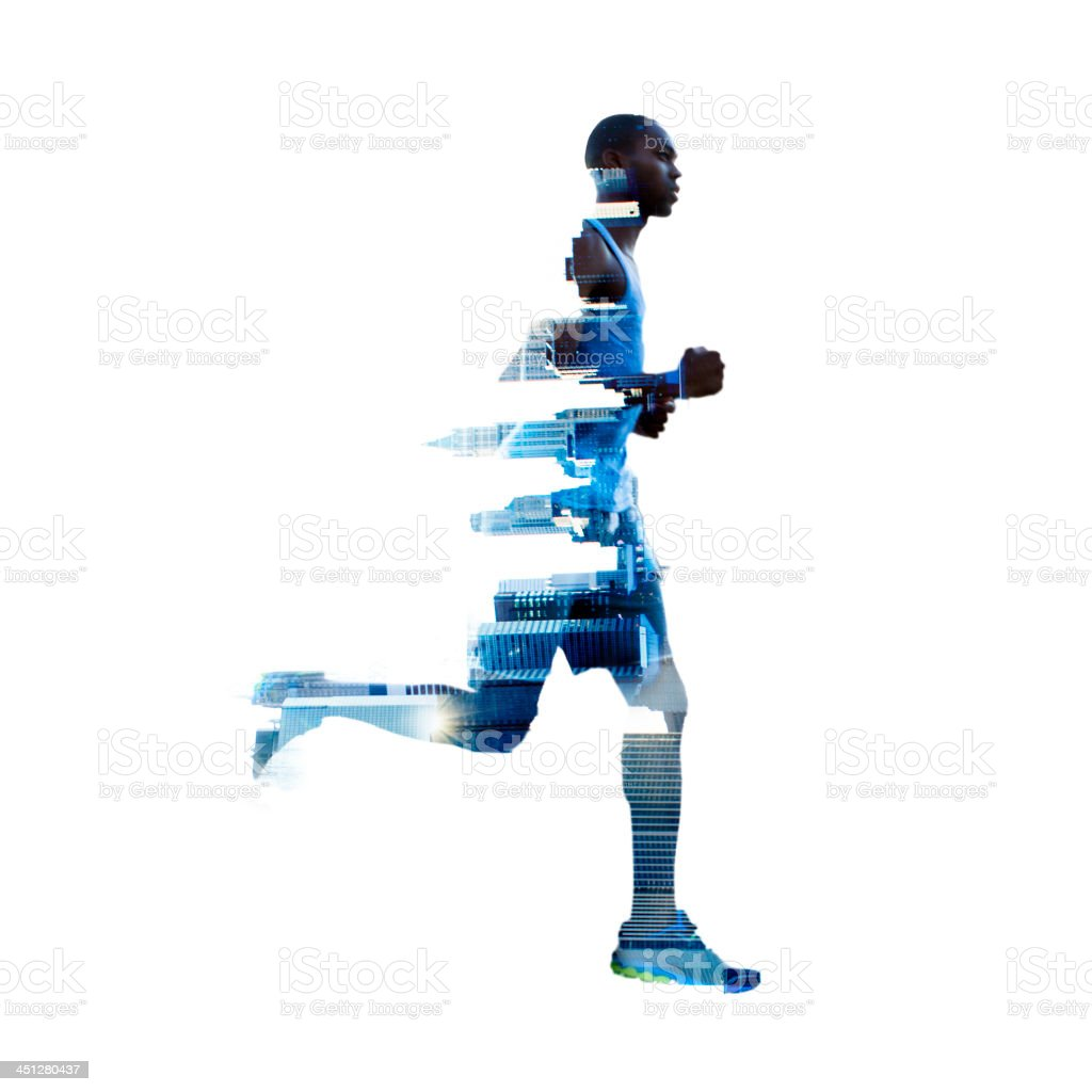 Double exposure of man running in New York stock photo