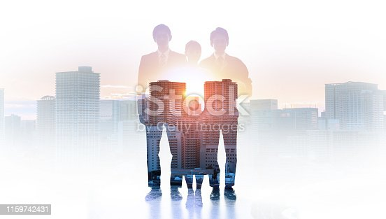 istock Double exposure of modern cityscape and group of people. 1159742431