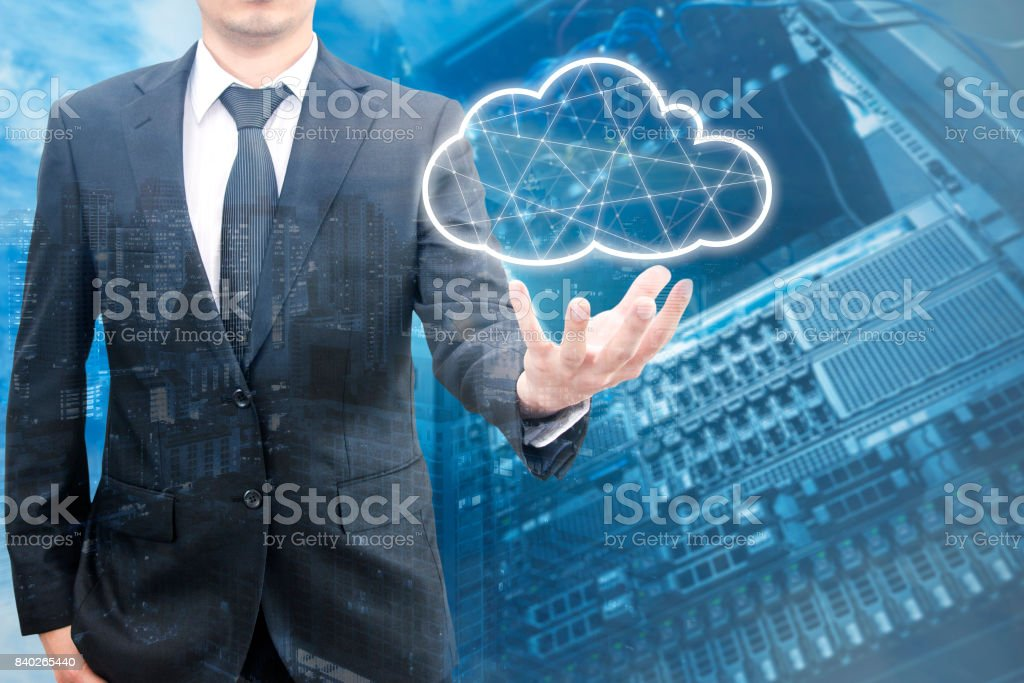 Double exposure of professional businessman connecting network and database on hand in technology, communication and business concept stock photo
