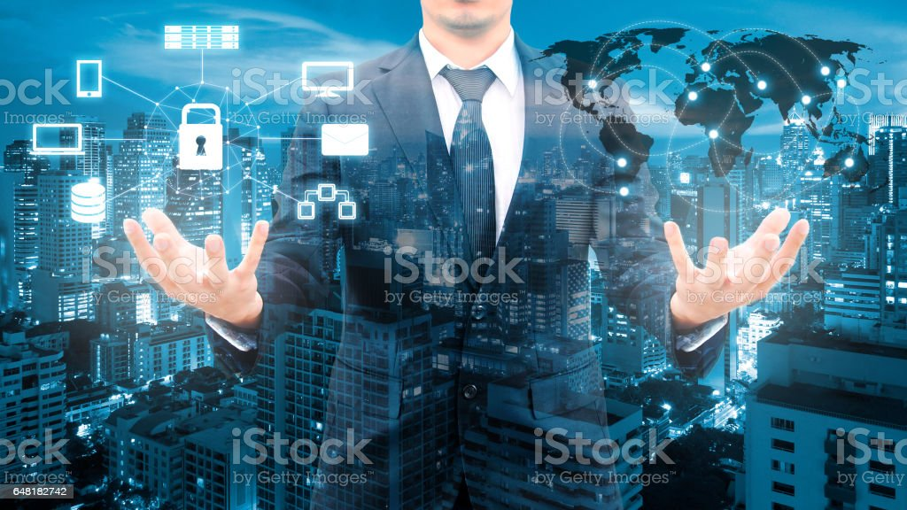 Double exposure of professional businessman security technology protection and network connection with blurred cityscape in communication , technology and business concept stock photo