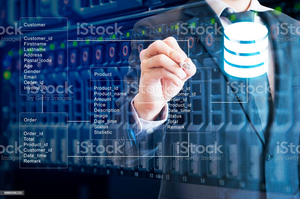 Double exposure of professional businessman system analysis design and drawing database table with server storage technology background royalty-free stock photo