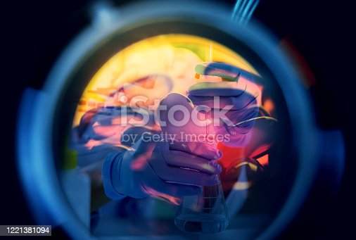 Double exposure of scientist or chemist and medical lab instrument, test tube and glass flask for microbiology and chemistry in laboratory for medicine study. Research and development concept.
