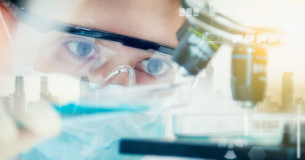 double exposure of scientist with equipment and science experiments ,laboratory glassware containing chemical liquid for design or decorate science or other your content,copy space,mock up. - medical research stock photos and pictures