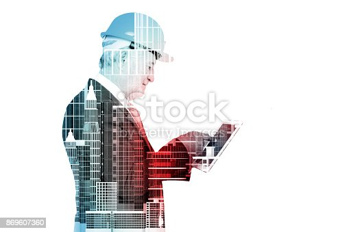 istock Double Exposure of Senior Executive Businessman in Suit with City Building Construction site 869607360