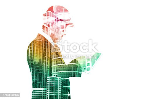 istock Double Exposure of Senior Executive Businessman in Suit with City Building Construction site 870031866