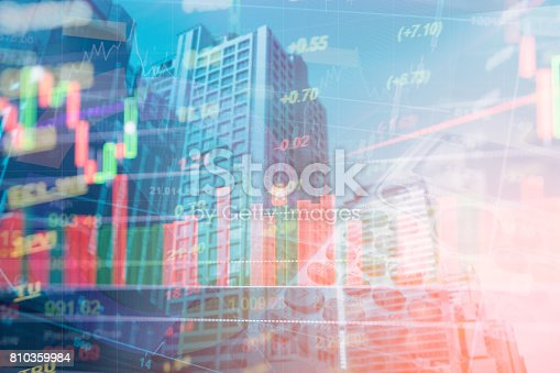 istock Double exposure of set coin on book-bank, graph background, 810359984