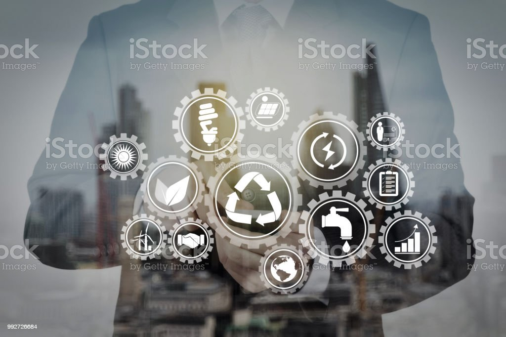 Double exposure of success businessman with abstract building stock photo