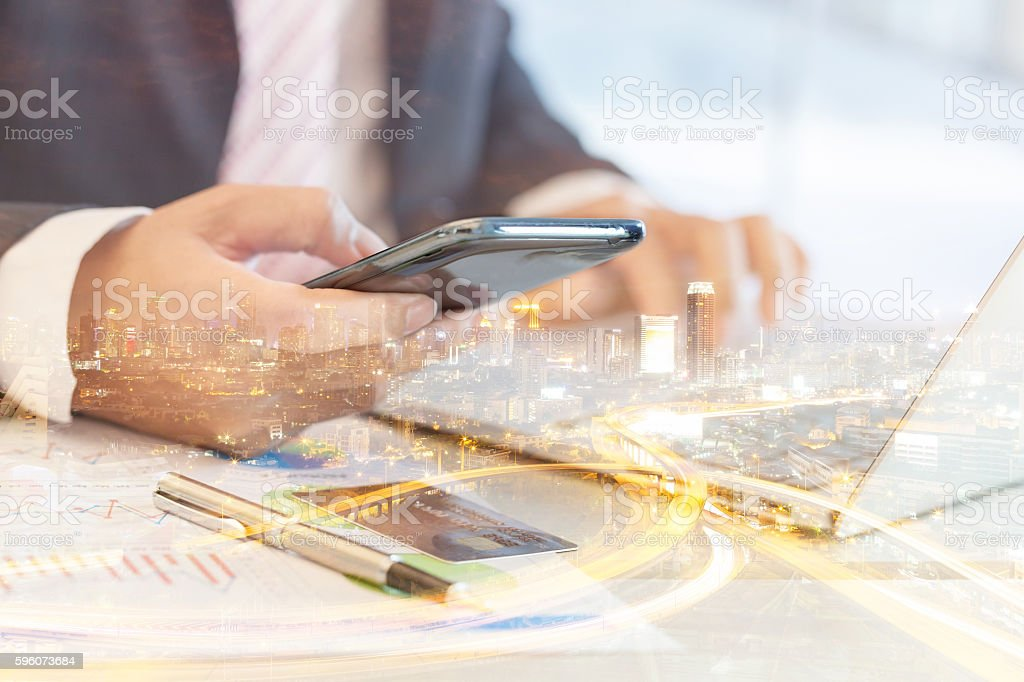 Double exposure of successful businessman. royalty-free stock photo