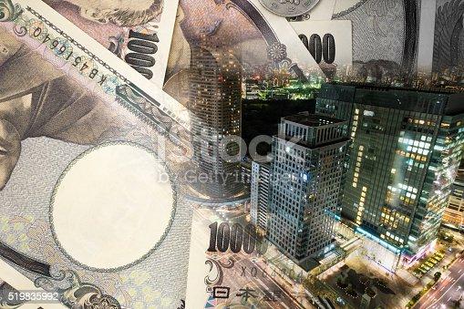 istock Double exposure of TOKYO CITY , note bank 519835992