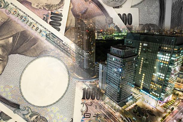 重照射の東京の街、注意銀行 ストックフォト