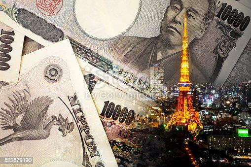 istock Double exposure of TOKYO TOWER , note bank , 522879190